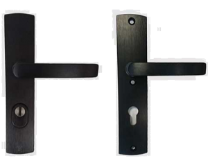 Veiligheids beslag Axa kruk/kruk, Zwart Aluminium geslepen F8 met kerntrekbeveiliging PC92, tbv deurdikte 38-60mm