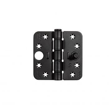 Veiligheids glijlager scharnier Axa, type 1687 SKG3 , zwart  89x89x3mm (inclusief zwarte schroeven)