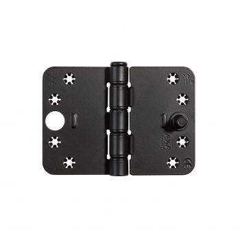 Veiligheids glijlager scharnier Axa, type 1687 SKG3 , zwart  89x125x3mm (inclusief zwarte schroeven)