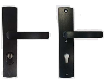 Veiligheids beslag Axa kruk/kruk, Zwart Aluminium geslepen F8 met kerntrekbeveiliging PC55, tbv deurdikte 38-60mm