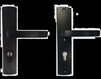 Veiligheids beslag Axa kruk/kruk, Zwart Aluminium geslepen F8 met kerntrekbeveiliging PC72, tbv deurdikte 38-60mm