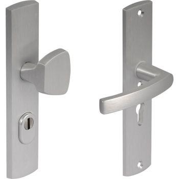 Veiligheids beslag Axa knop/kruk, Aluminium F1 geslepen met kerntrekbeveiliging PC72, tbv deurdikte 38-60mm