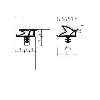 Aanslag profiel geluidsisolerend zwart met folie, type Deventer S5751F , rol a  275 meter